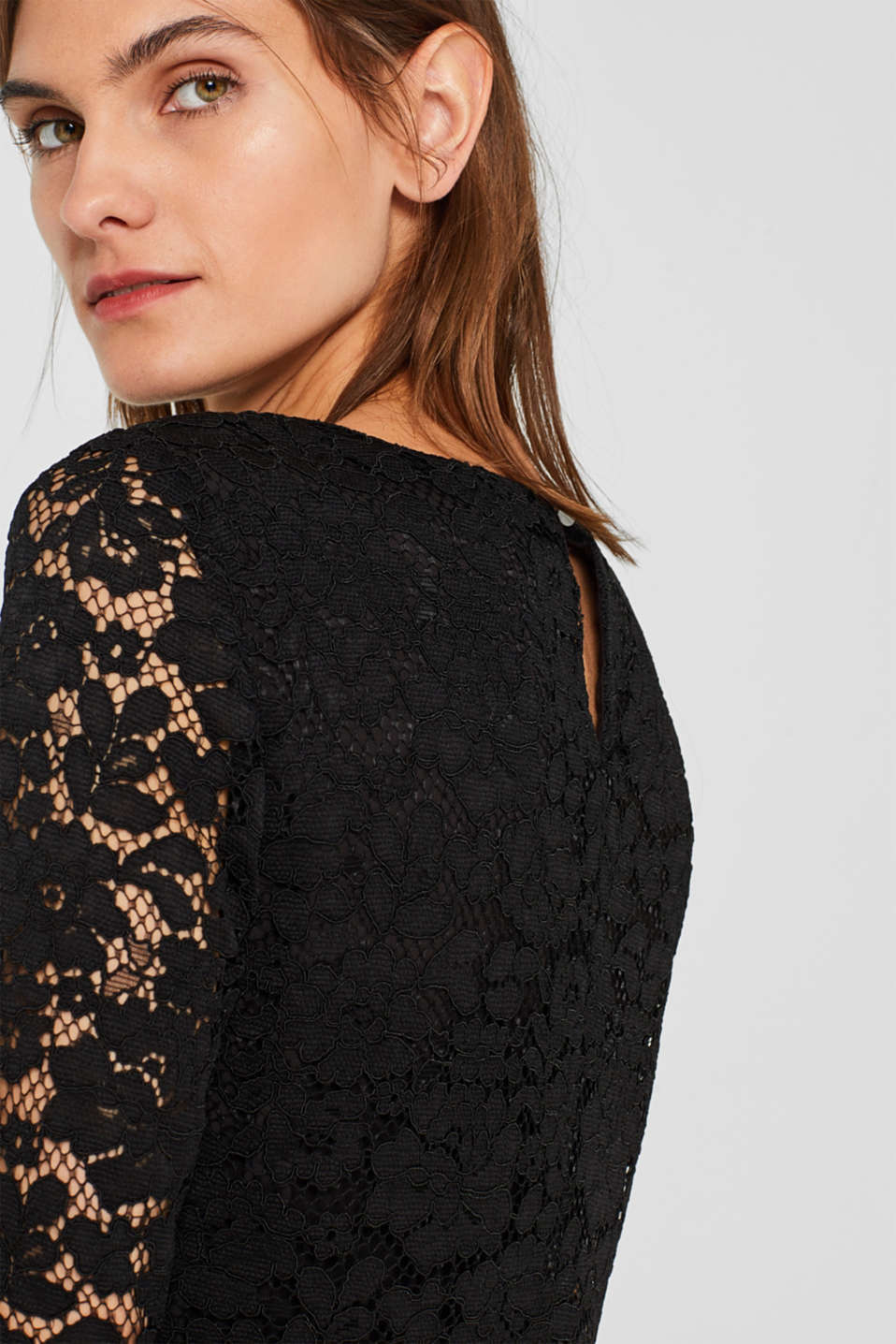 Lace dress with a pleated skirt, BLACK, detail image number 3