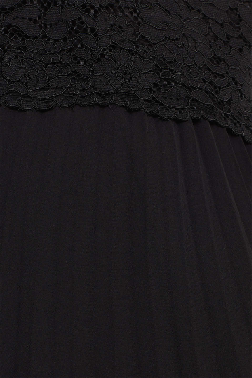 Lace dress with a pleated skirt, BLACK, detail image number 4