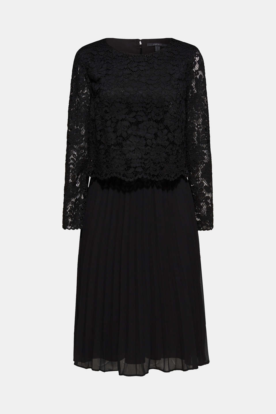 Lace dress with a pleated skirt, BLACK, detail image number 5
