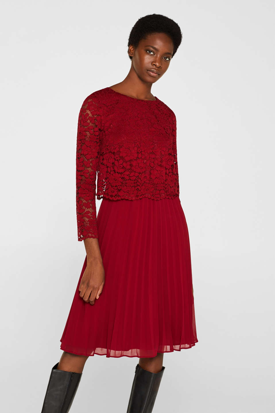 Lace dress with a pleated skirt, DARK RED, detail image number 0