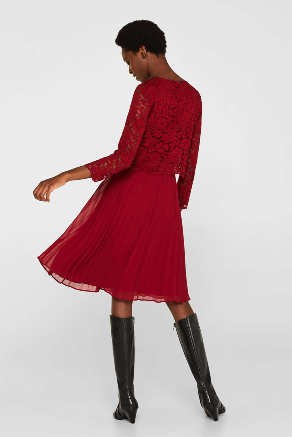 Lace dress with a pleated skirt, DARK RED, detail image number 2