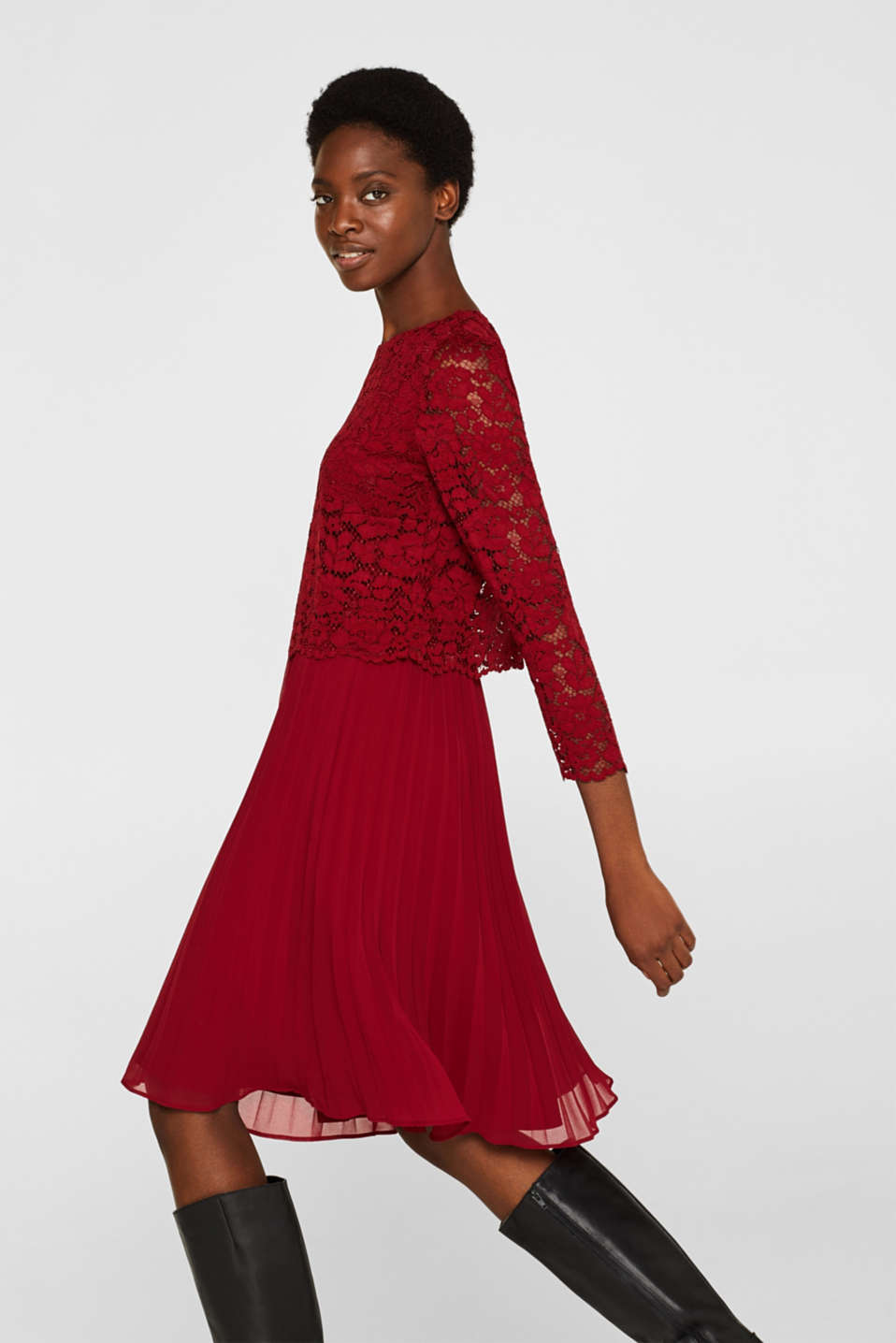 Lace dress with a pleated skirt, DARK RED, detail image number 5