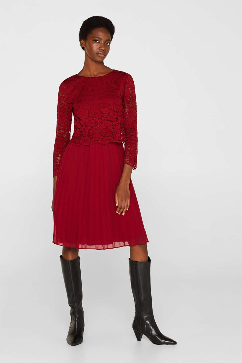 Lace dress with a pleated skirt, DARK RED, detail image number 1