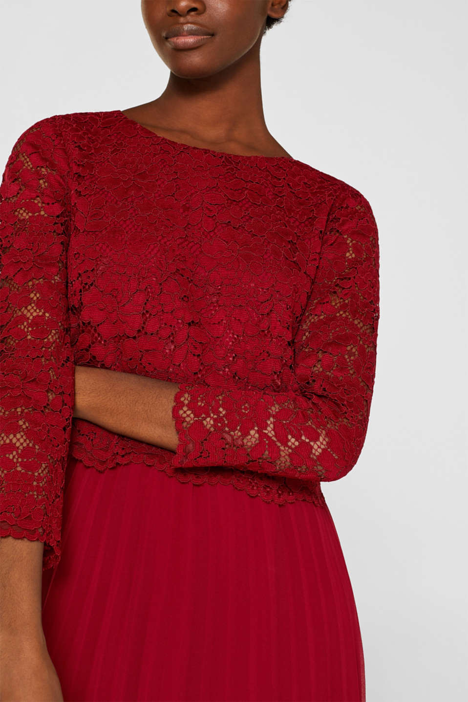 Lace dress with a pleated skirt, DARK RED, detail image number 3
