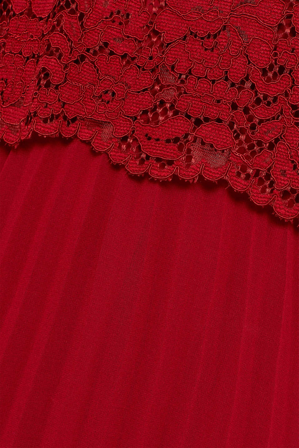 Lace dress with a pleated skirt, DARK RED, detail image number 4