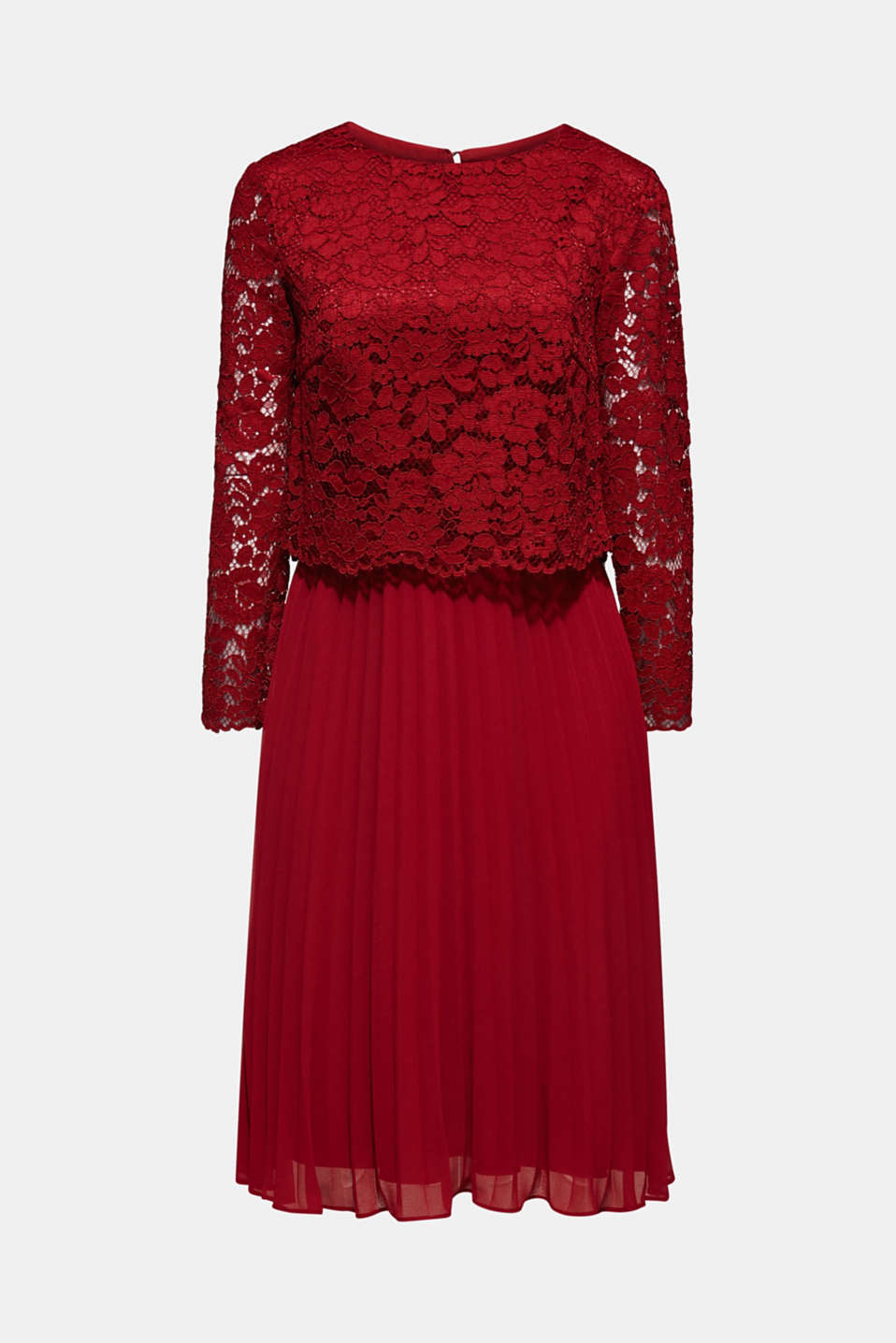 Lace dress with a pleated skirt, DARK RED, detail image number 6