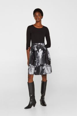Stretch jersey dress with a jacquard skirt, BLACK, detail