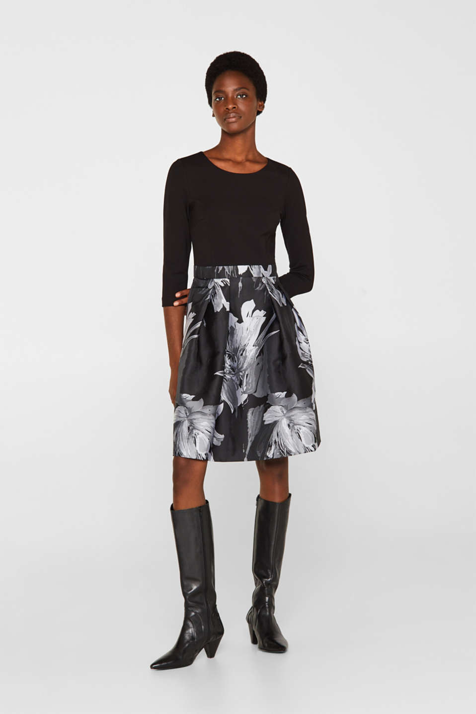 Stretch jersey dress with a jacquard skirt, BLACK, detail image number 1