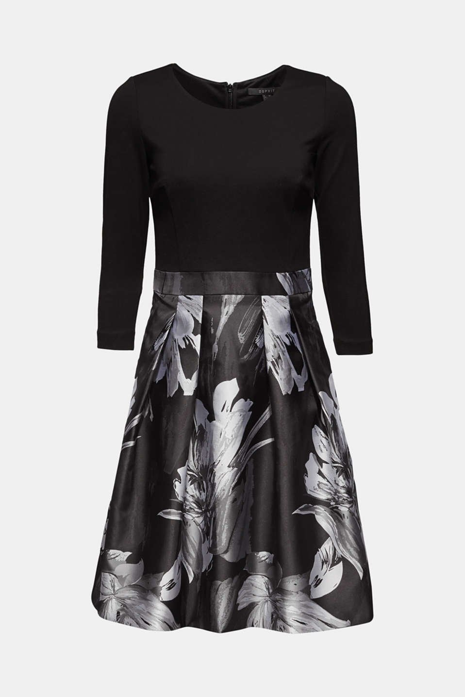 Stretch jersey dress with a jacquard skirt, BLACK, detail image number 6