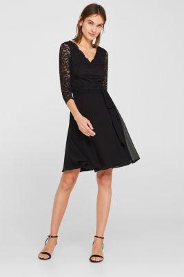 Dress made of lace and chiffon, BLACK, detail
