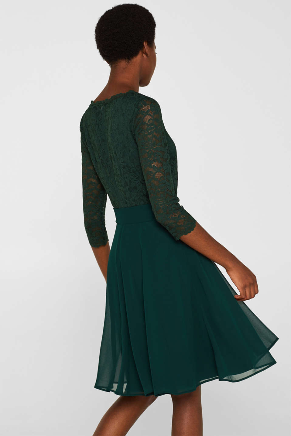 Dress made of lace and chiffon, DARK TEAL GREEN, detail image number 2