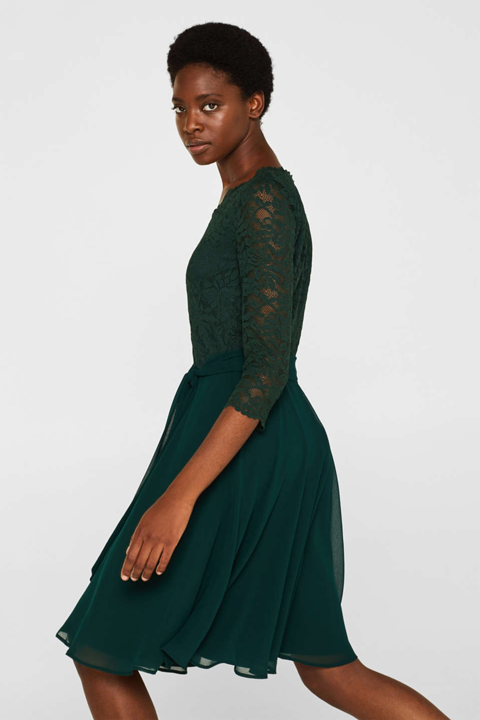 Dress made of lace and chiffon, DARK TEAL GREEN, detail image number 5