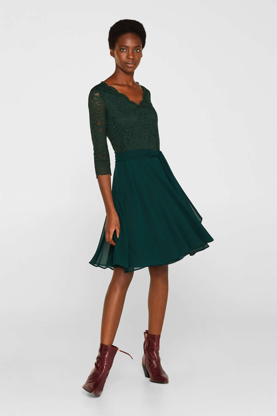 Dress made of lace and chiffon, DARK TEAL GREEN, detail image number 1