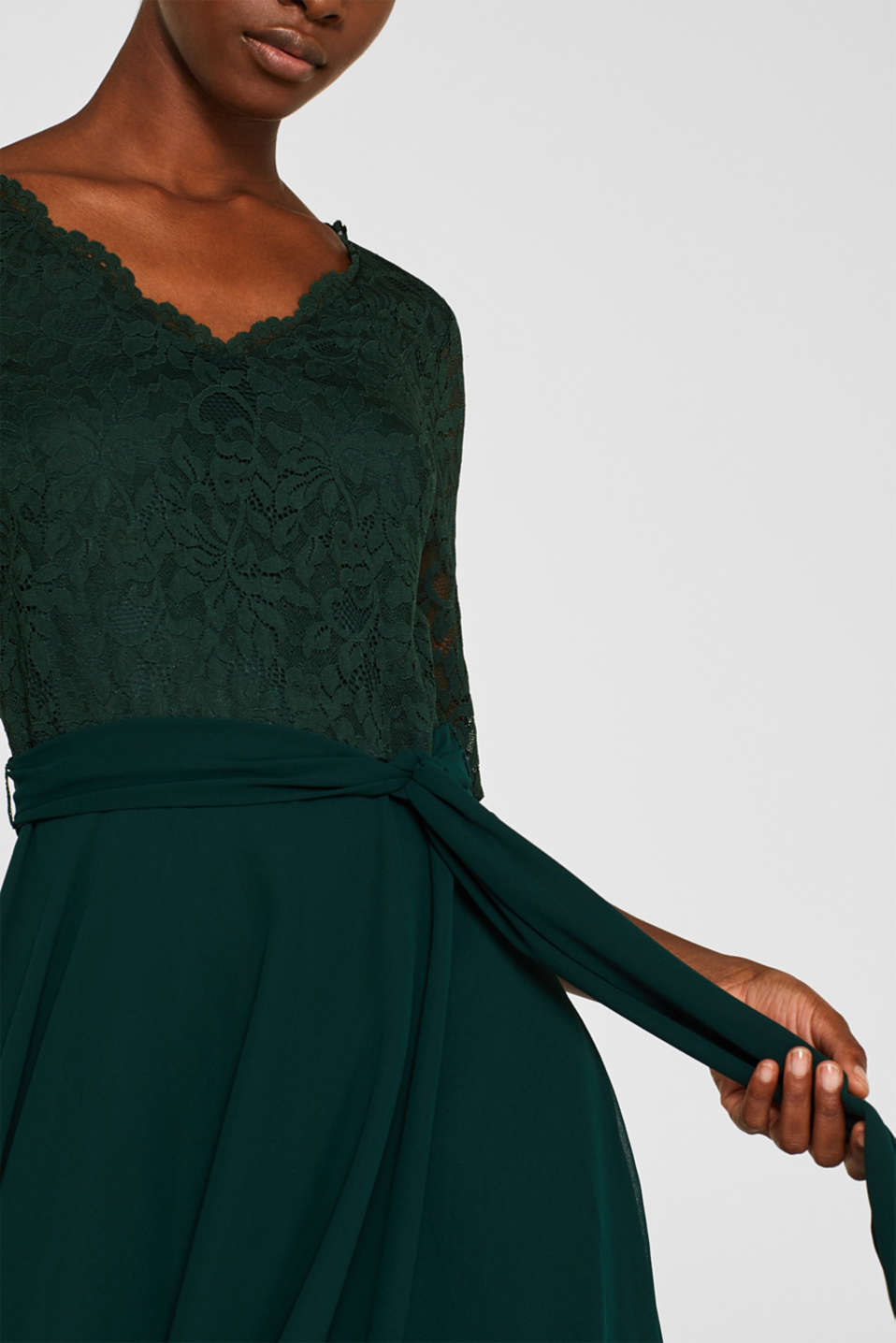 Dress made of lace and chiffon, DARK TEAL GREEN, detail image number 3