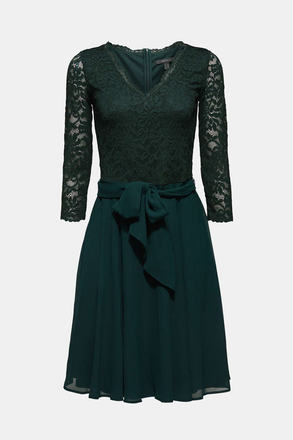 Dress made of lace and chiffon, DARK TEAL GREEN, detail image number 6