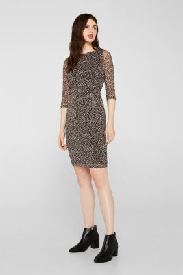 Mesh dress with a leopard print, BLACK, detail