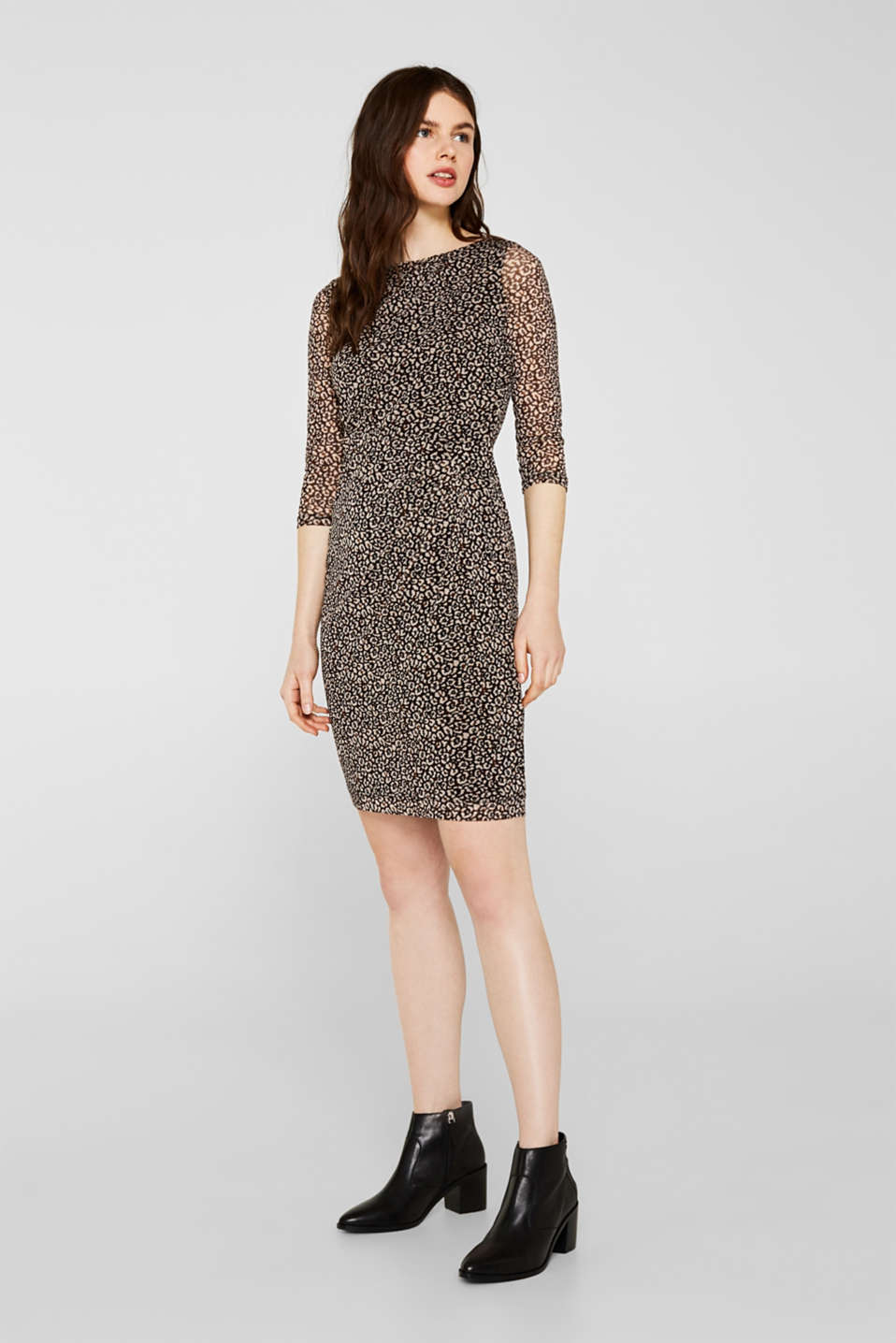 Mesh dress with a leopard print, BLACK, detail image number 0