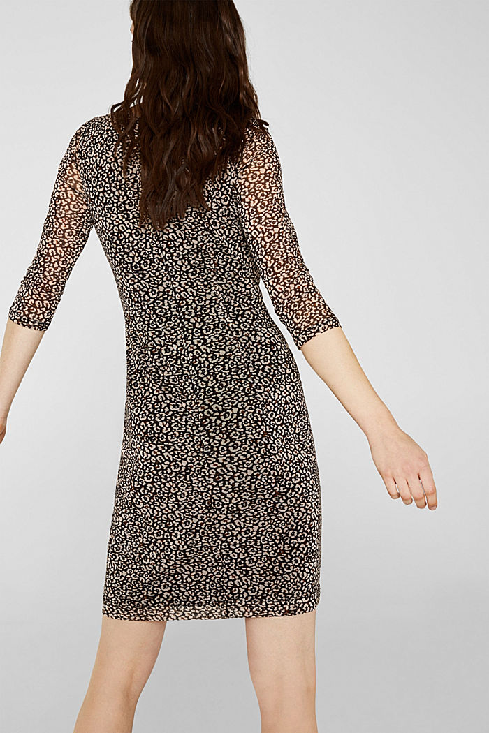 Mesh dress with a leopard print, BLACK, detail image number 1