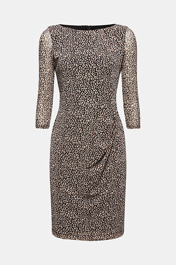 Mesh dress with a leopard print, BLACK, detail image number 6