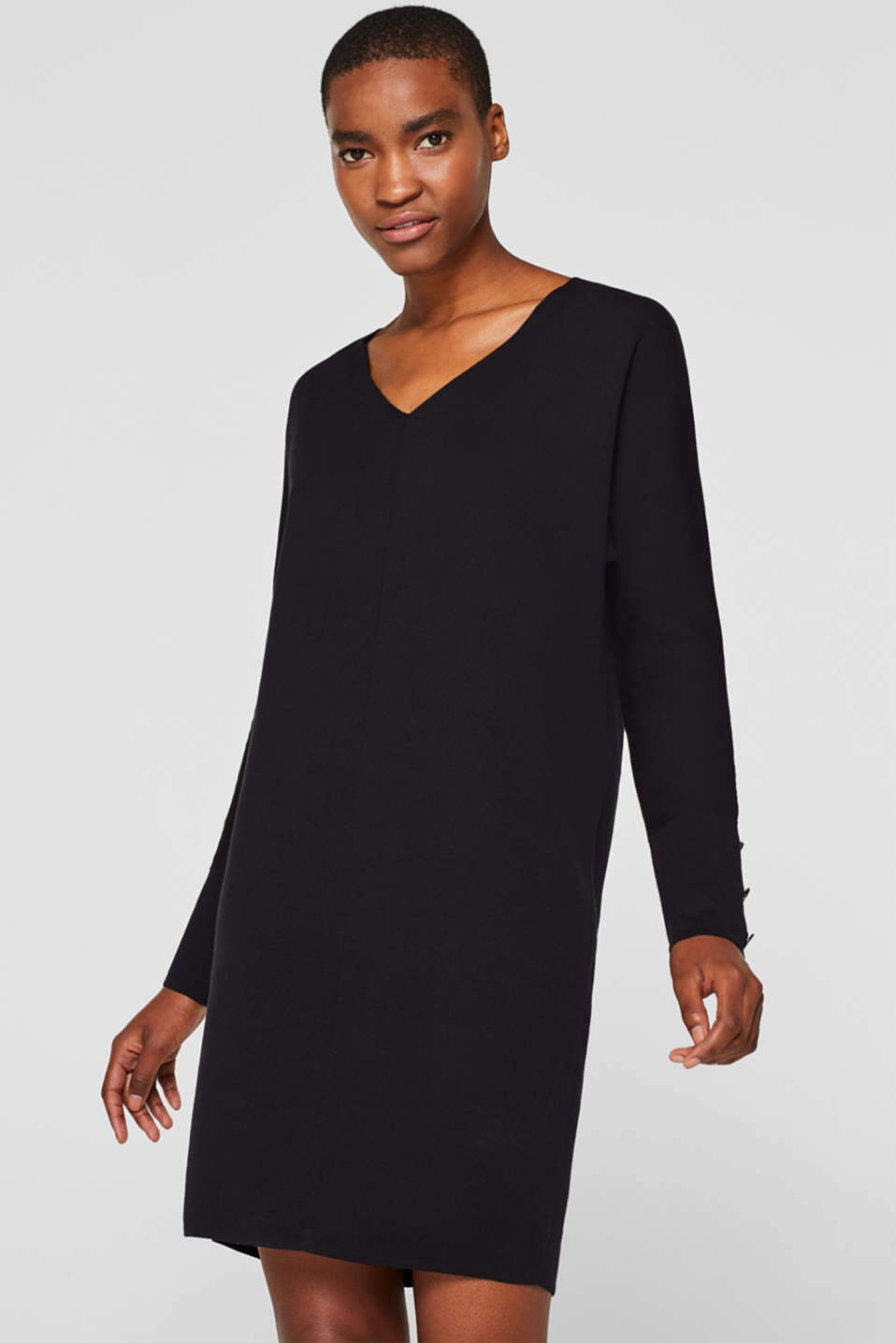 Knit dress with a bow, stretch cotton, BLACK, detail image number 0