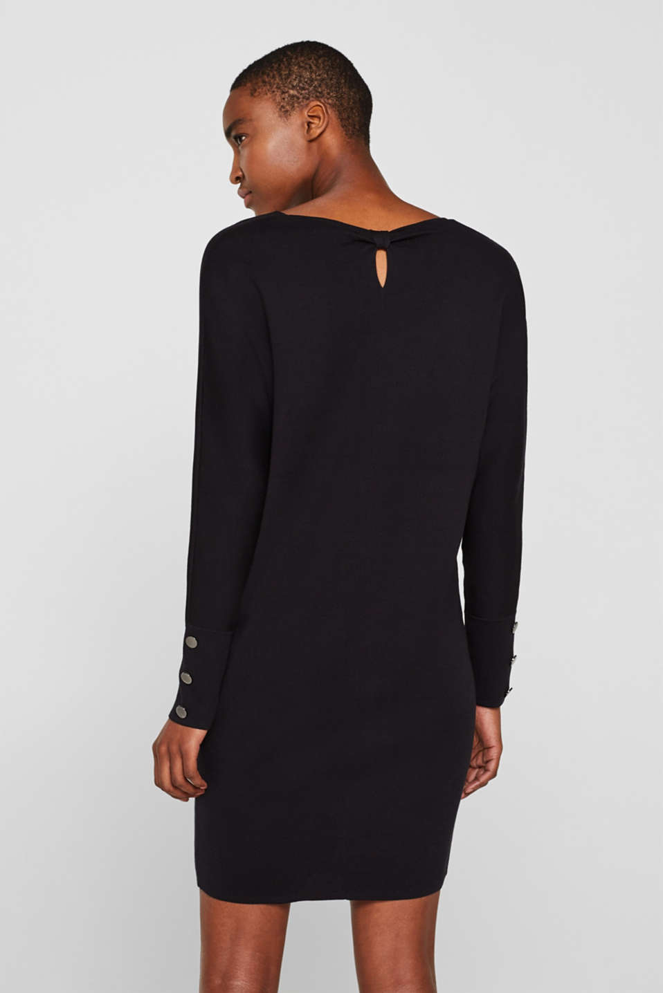 Knit dress with a bow, stretch cotton, BLACK, detail image number 2