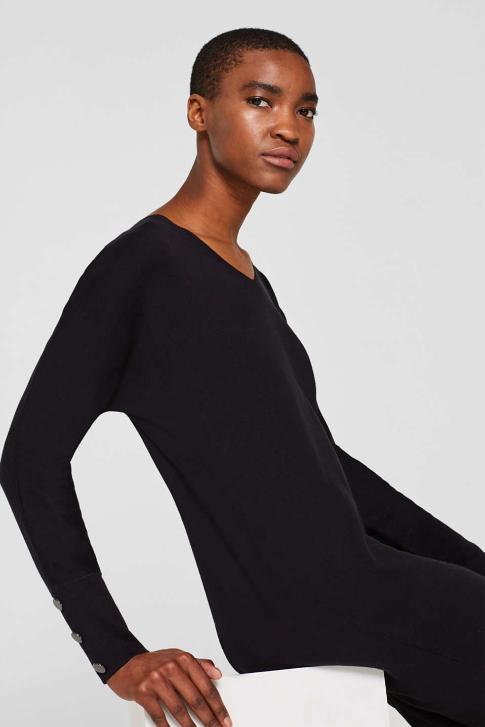 Knit dress with a bow, stretch cotton, BLACK, detail image number 4