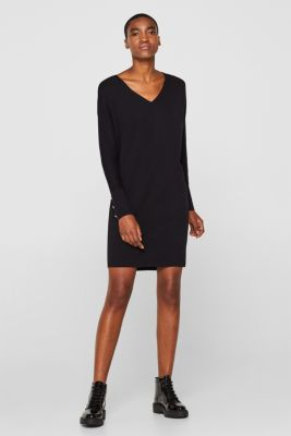 Knit dress with a bow, stretch cotton, BLACK, detail