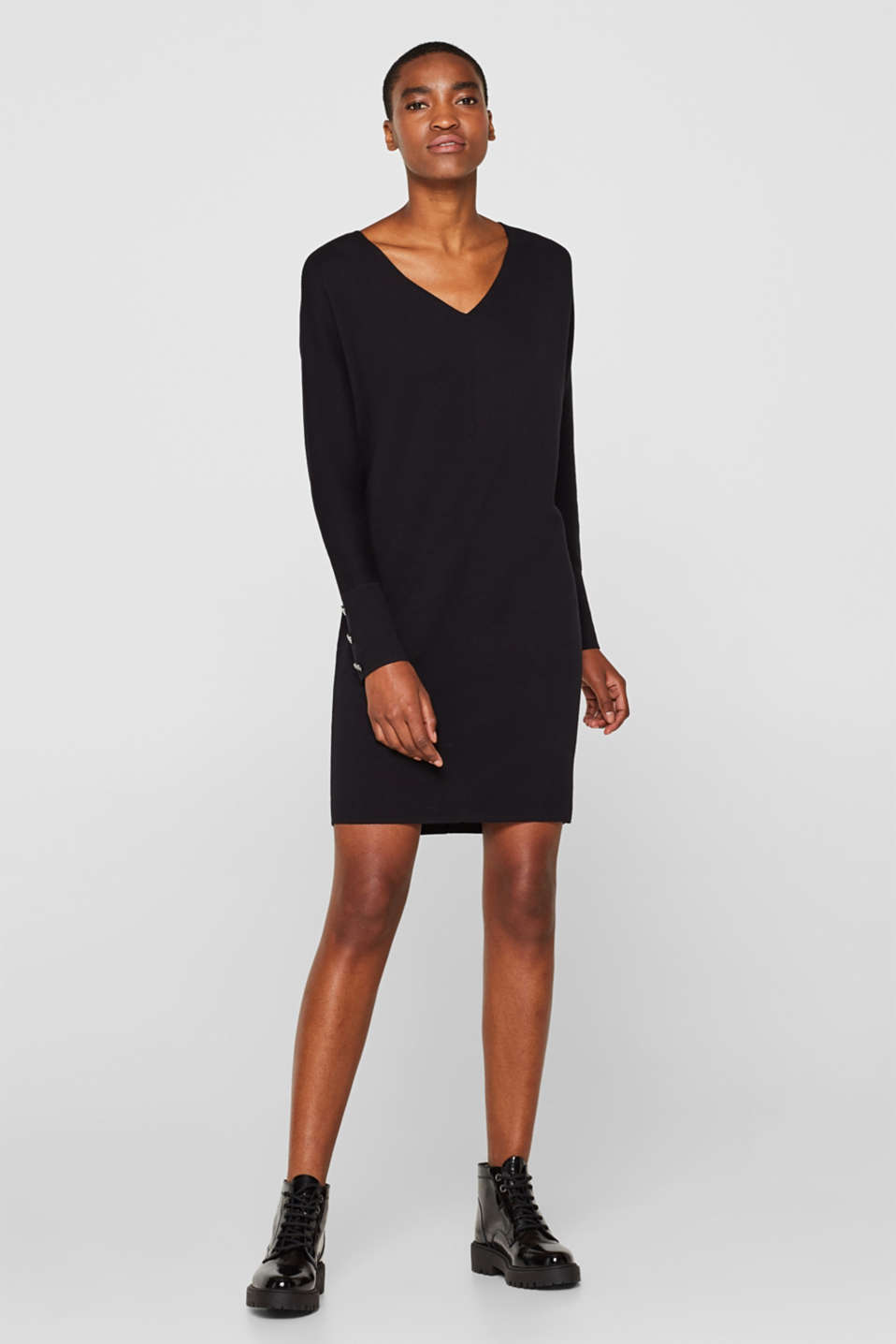 Knit dress with a bow, stretch cotton, BLACK, detail image number 1