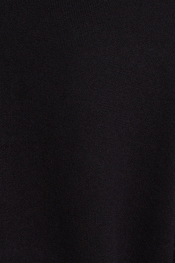 Knit dress with a bow, stretch cotton, BLACK, detail image number 5