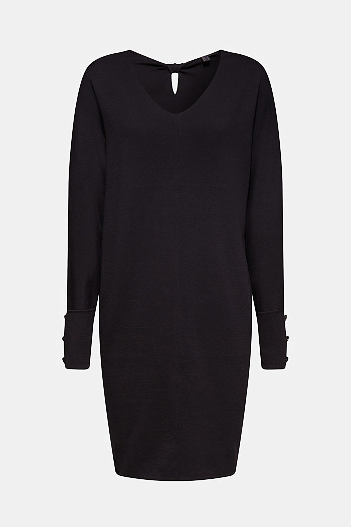 Knit dress with a bow, stretch cotton, BLACK, detail image number 7