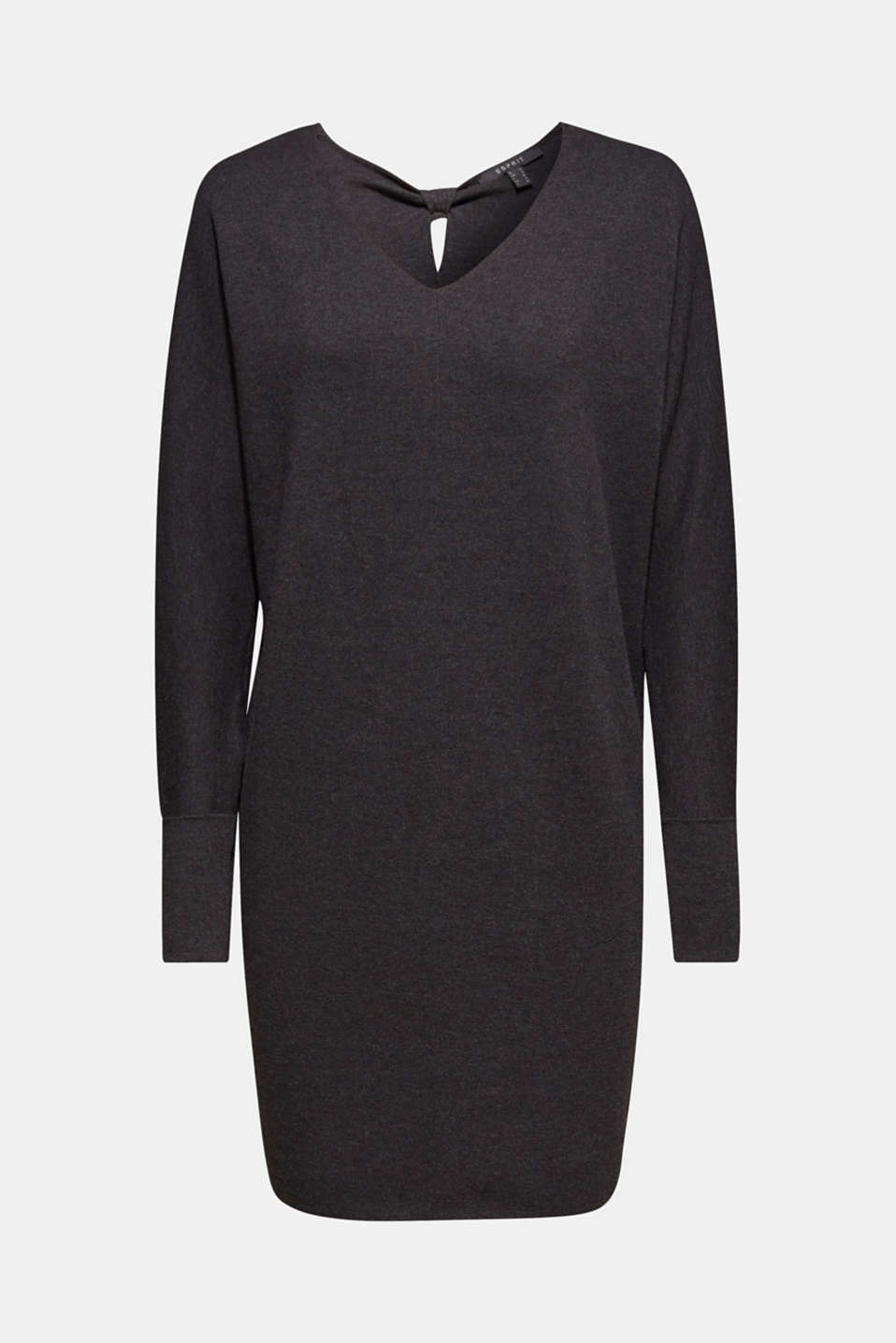 Knit dress with a bow, stretch cotton, DARK GREY 5, detail image number 6