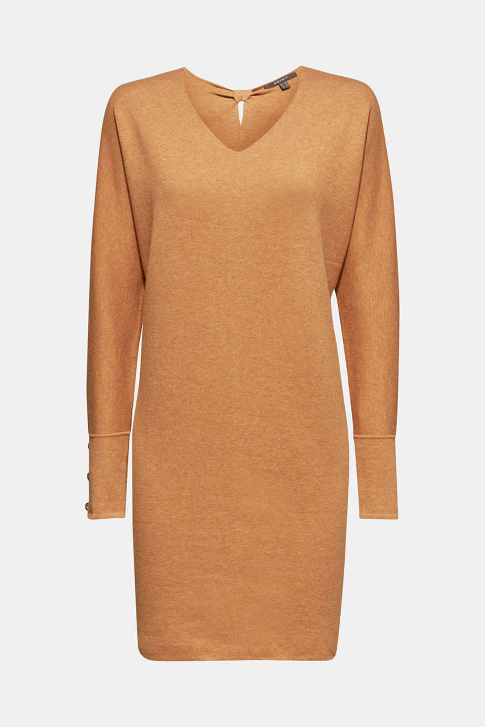 Knit dress with a bow, stretch cotton, CARAMEL 5, detail image number 6