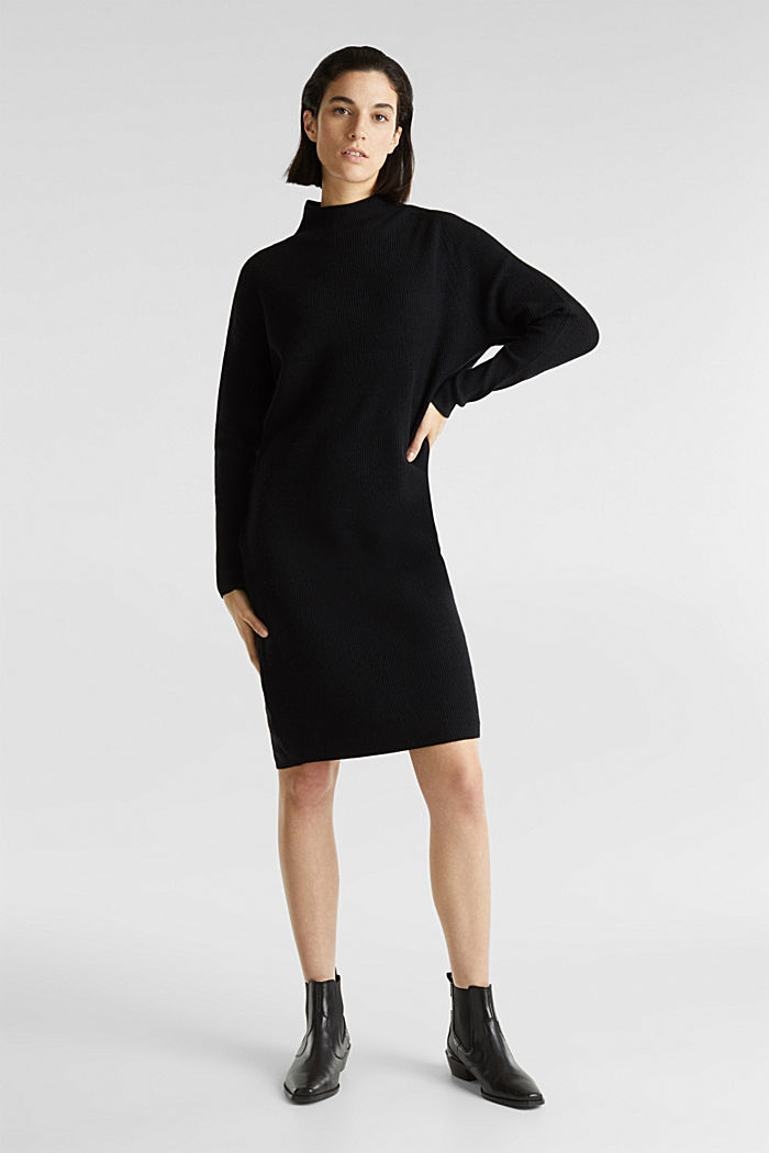 Knitted dress with cashmere, BLACK, detail image number 0
