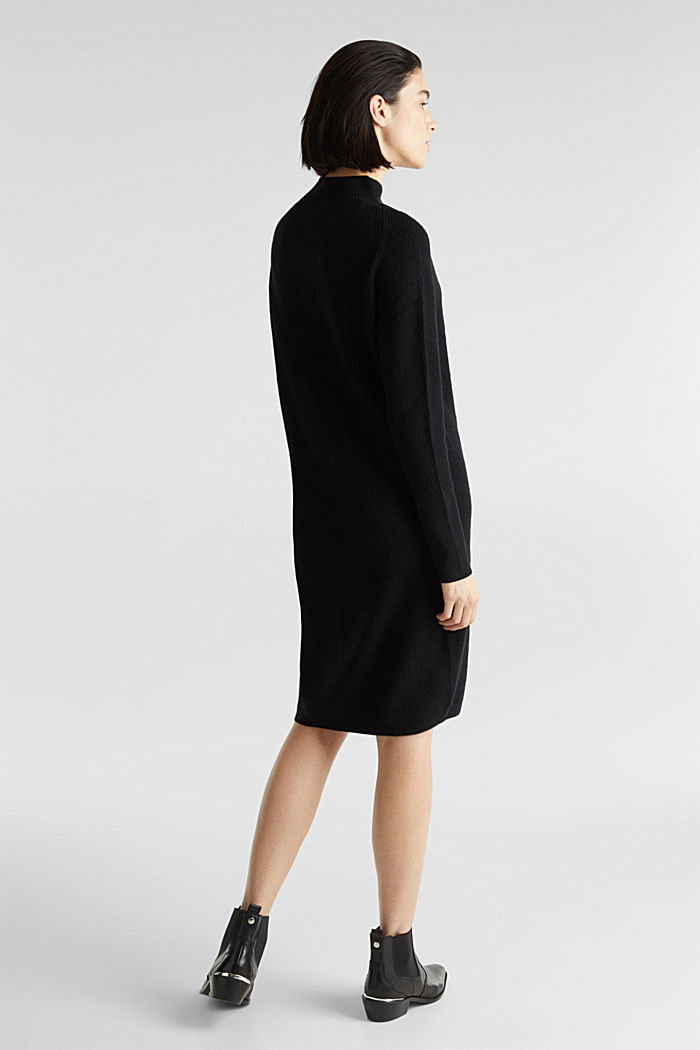 Knitted dress with cashmere, BLACK, detail image number 2