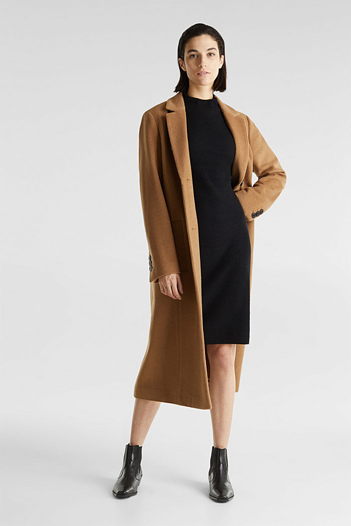 Knitted dress with cashmere, BLACK, detail image number 1