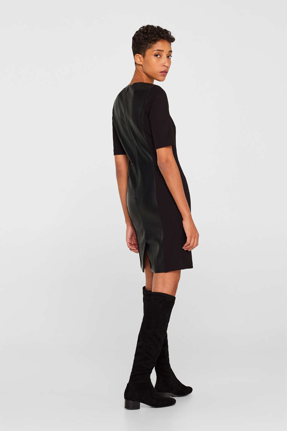Faux leather sheath dress, BLACK, detail image number 3