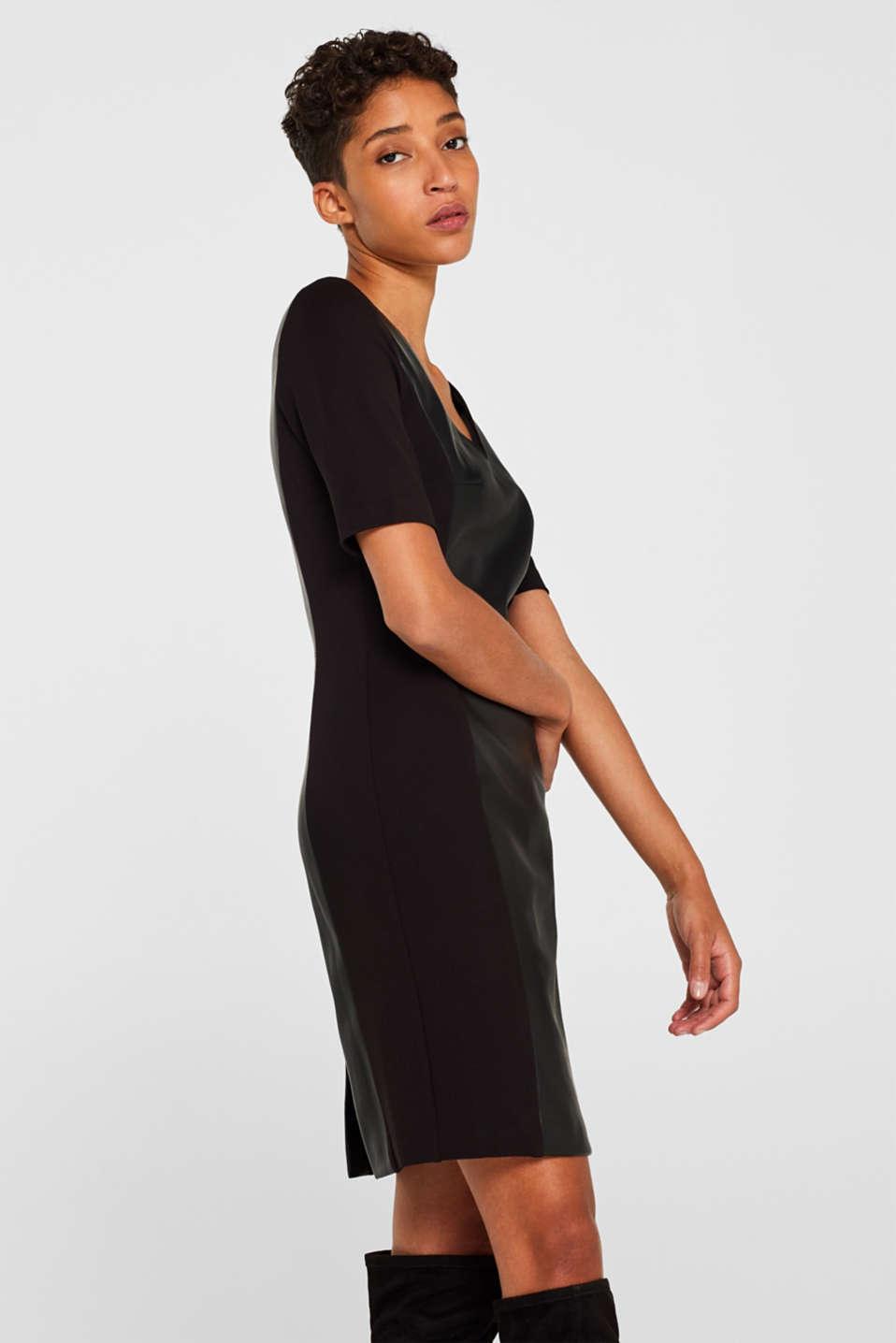 Faux leather sheath dress, BLACK, detail image number 5