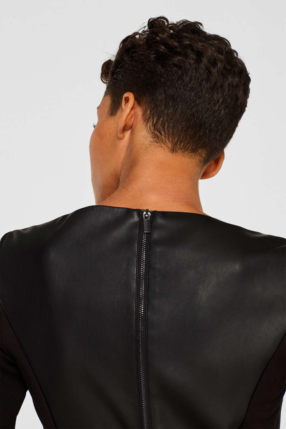 Faux leather sheath dress, BLACK, detail image number 2