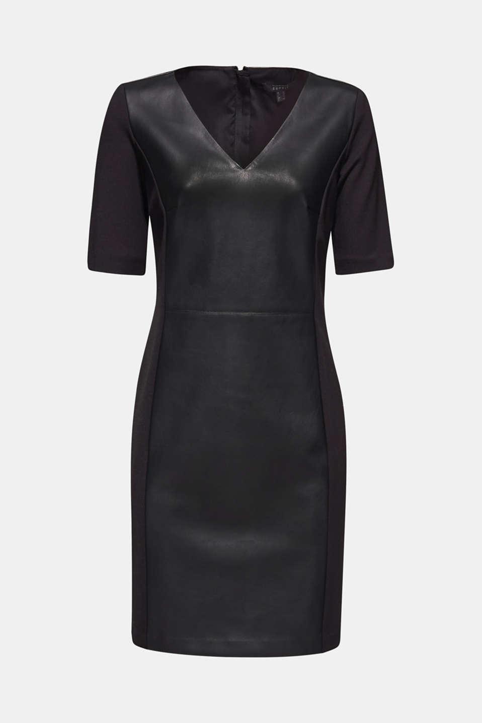 Faux leather sheath dress, BLACK, detail image number 6