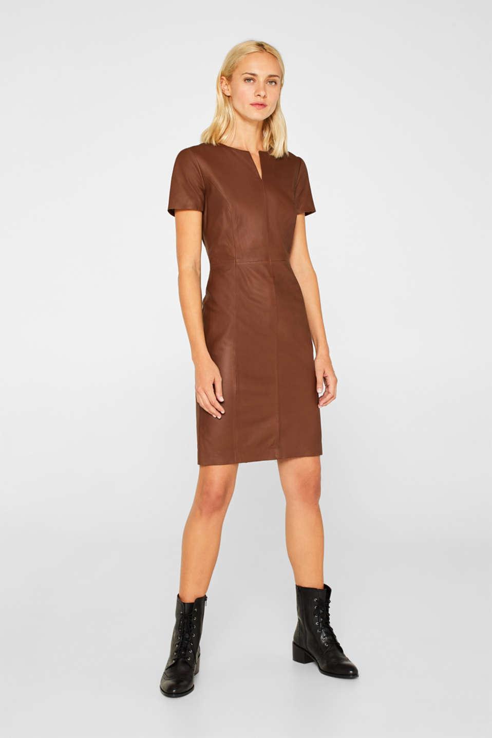 Dresses leather, CARAMEL, detail image number 1