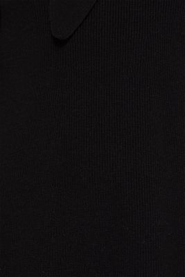 With wool: knit dress with a pussycat bow, BLACK, detail
