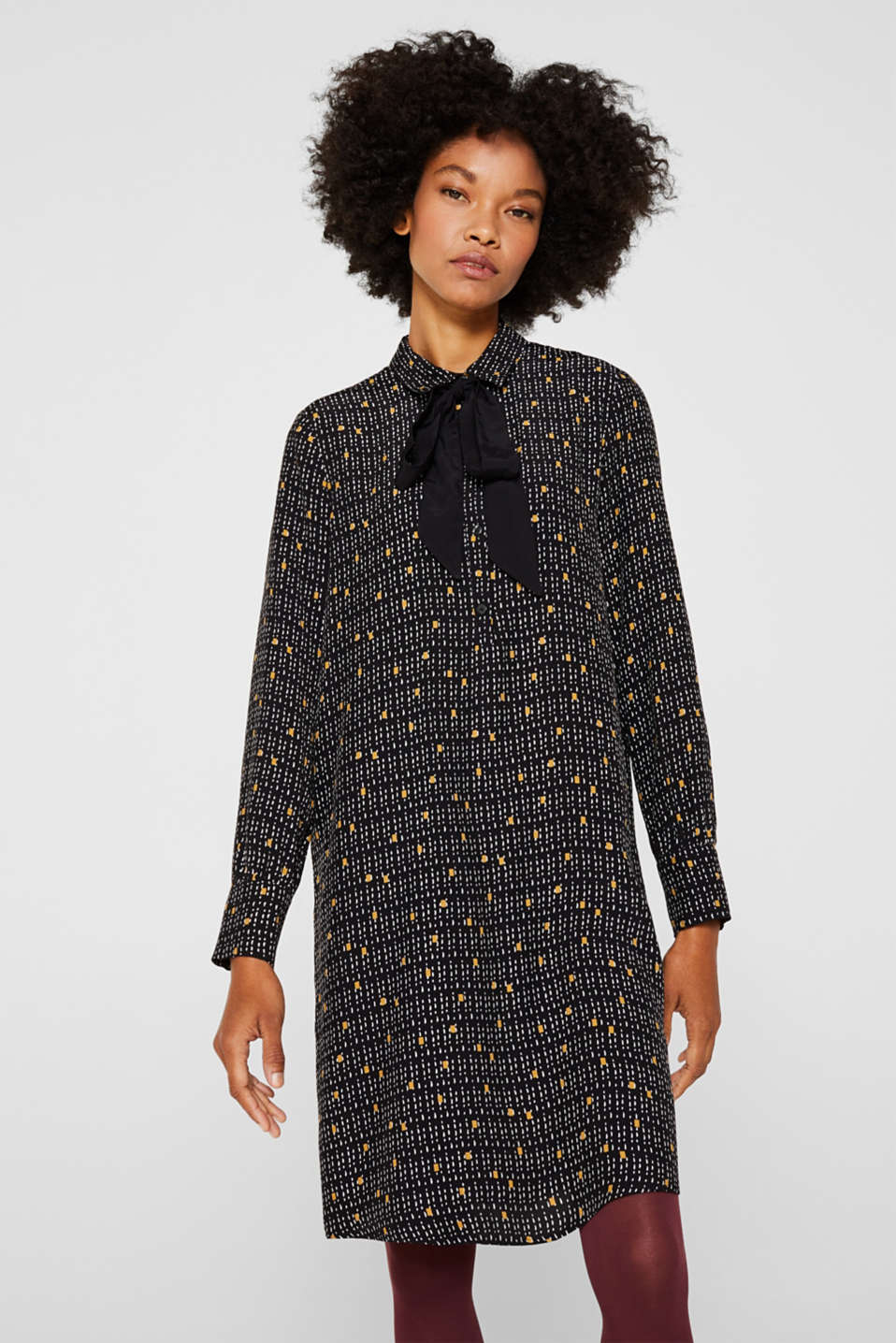 Patterned shirt dress with a pussycat bow, BLACK, detail image number 0