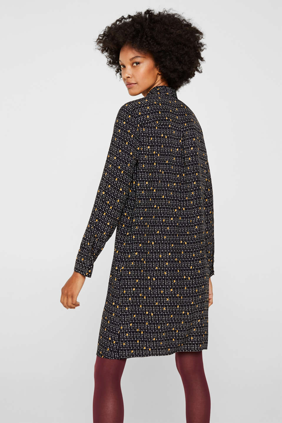 Patterned shirt dress with a pussycat bow, BLACK, detail image number 2