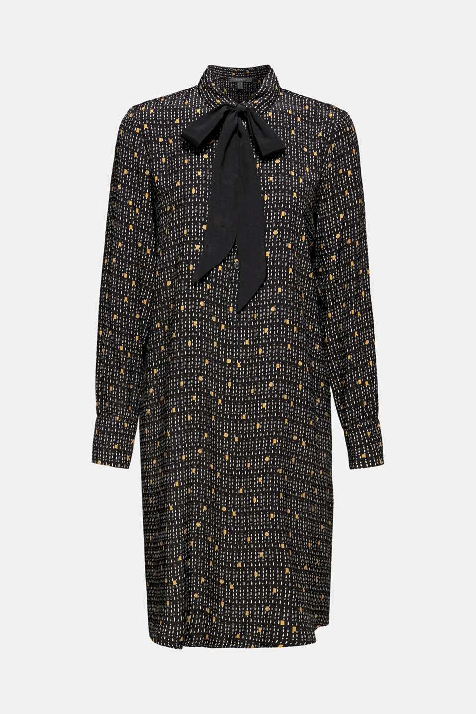 Patterned shirt dress with a pussycat bow, BLACK, detail image number 7