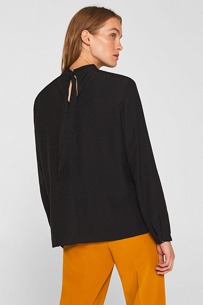 Jacquard blouse with a bow at the back, BLACK, detail image number 3