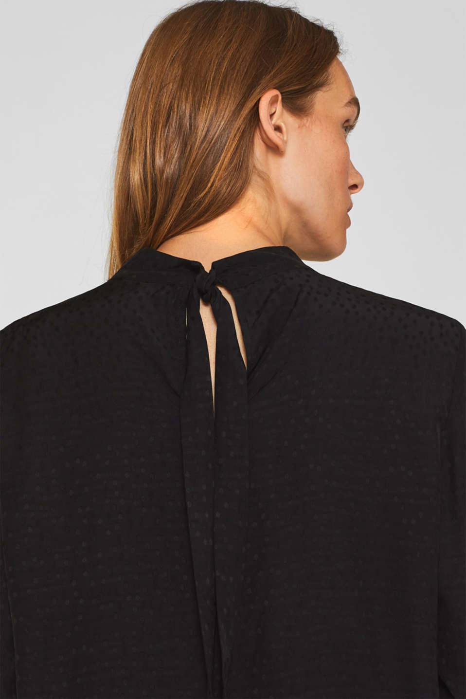 Jacquard blouse with a bow at the back, BLACK, detail image number 2