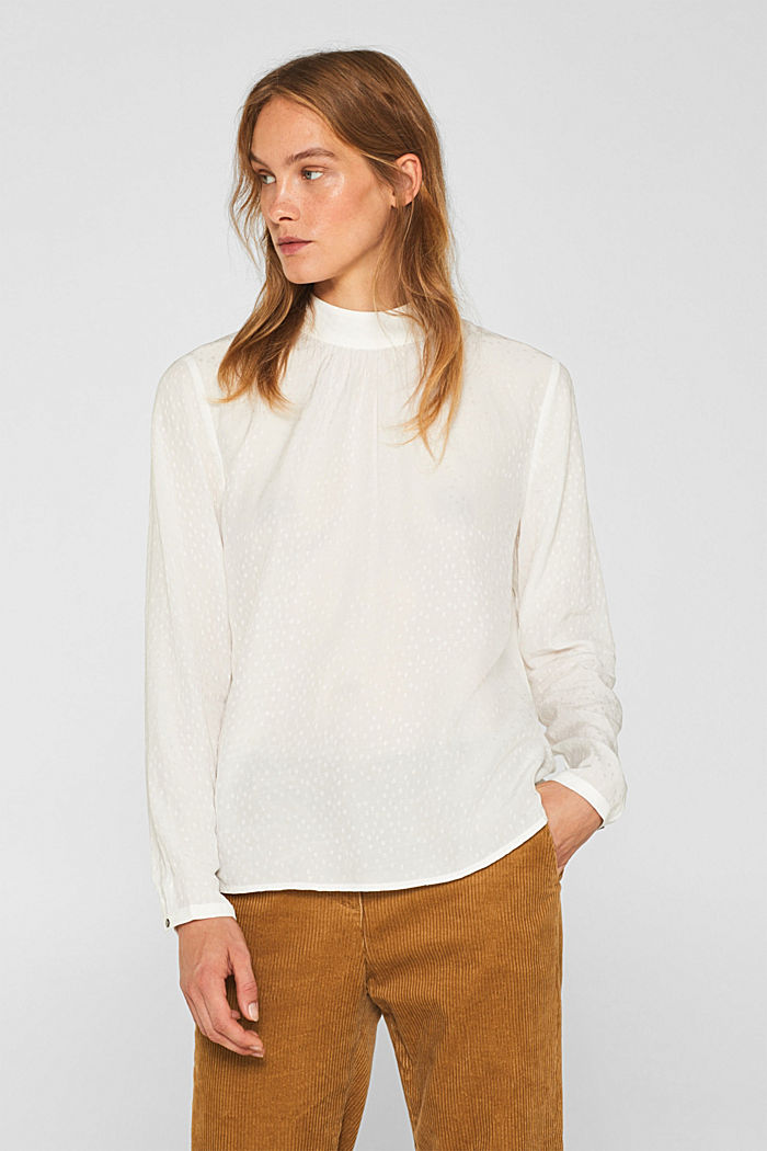 Jacquard blouse with a bow at the back, OFF WHITE, detail image number 0