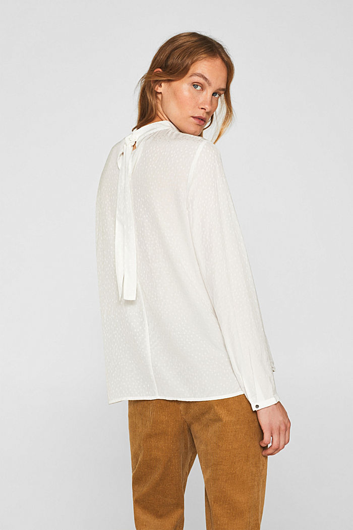 Jacquard blouse with a bow at the back, OFF WHITE, detail image number 3