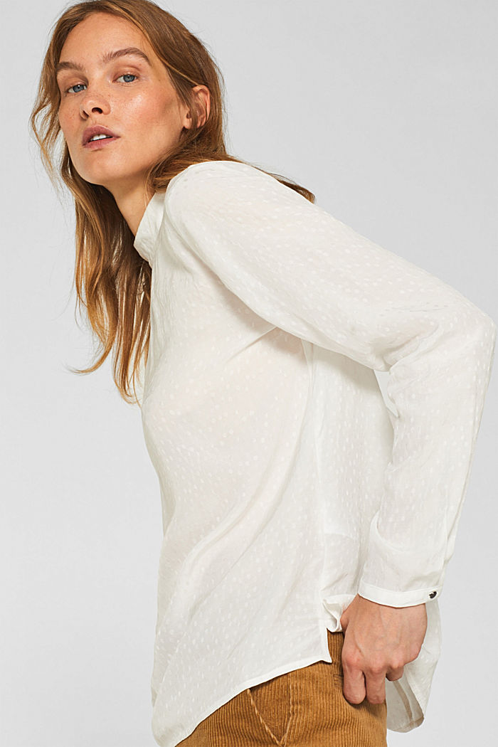 Jacquard blouse with a bow at the back, OFF WHITE, detail image number 5