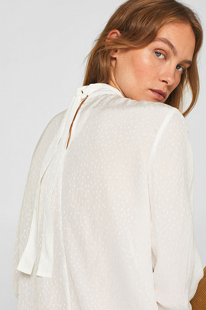 Jacquard blouse with a bow at the back, OFF WHITE, detail image number 2